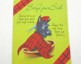 Vintage Get Well Greeting Card with Scotty or Scottie Dog in Bed by American Greetings
