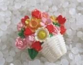 vintage Hallmark Lapel Pin. Basket of Flowers & Hearts lapel Brooch, Spring flowers in a basket.