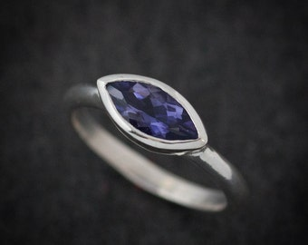 Marquise Shape Ring, Water Sapphire Ring, Gemstone Solitaire Ring,September Birthstone Ring, Water Sapphire Engagement Ring,Eco Silver Rings