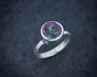 Mystic Topaz Ring, Edgy Sterling Silver Ring, Gemstone Rings in Rainbow Topaz, Rainbow Ring Statement Ring -Ready to Ship Size 9