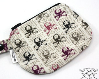 Waterproof Mouth Guard Case Roller Derby Skull and Crossbones Zipper Closure Ready to Ship