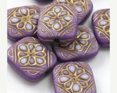 40% off Shop Closing 14 Plastic Ornate Flat Rectangle Floral Beads -  Lilac and Gold - PB040