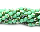 Czech Glass Beads Fire Polished Faceted Rounds 3mm Green Turquoise Celsian (50) CZF840