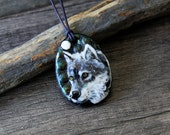 Grey Wolf in the night - Fused glass pendant