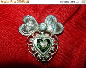Valentines Day Sale 1960's Jane Bolles Heart Brooch, Pendant, Enamel Red Rose, Victorian Style Valentine Pin