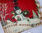 Vintage Snowman Collage Winter Wonderland Gift Tags