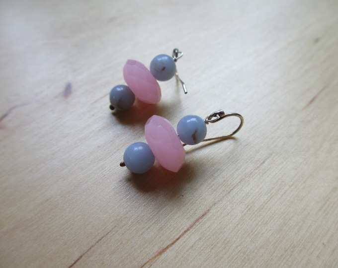 Insouciant Studios Rosy Anhydrite Earrings Angelite Chalcedony