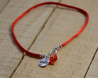 Sterling Silver Prosperity and  Success Evil Eye Charms Red String Anklet