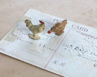 Lead Rooster and Hen Chicken Farm Animal Toy Vintage Antique