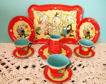 Vintage 11 Piece Set Tin Litho Bunny Rabbit Dishes Ohio Art Easter Display Tray Fern Bisel Peat
