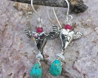 Winged Heart Earrings - Fine Pewter Earrings - Turquoise - Freshwater Pearl - Heart Earrings - Valentine Jewelry - Cowgirl Jewelry