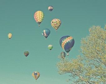 Nursery Decor, Hot Air Balloons, Teal Photography, Childrens Room, Green And Blue, 8 x 10 Photo, Fine Art Print, Wall Decor, Apartment Decor
