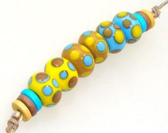 Handmade Lampwork Glass Beads - Elmhurst! 3 pairs. Dotties in lemon yellow, caramel and turquoise. Stacked dots, earring pairs.