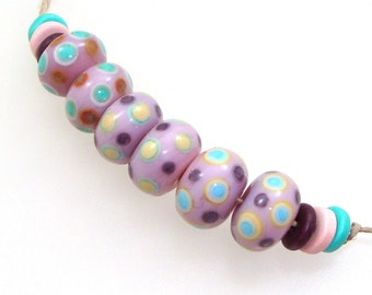 Handmade Lampwork Beads - Bountiful! 3 pairs. Stacked dots on shades of pink. With turquoise, purple, yellow, russet. Perfect for earrings.
