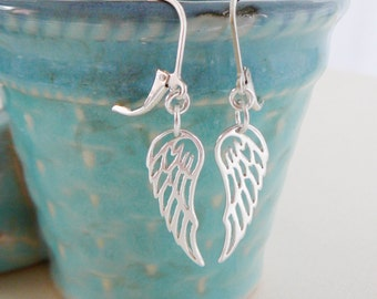 Sterling Silver Angel Wing Earrings, Dangle earring, angelic, bridal party jewelry