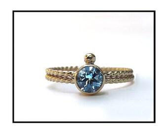 SALE - 14k Gold Blue Topaz Ring - Size 6 Only