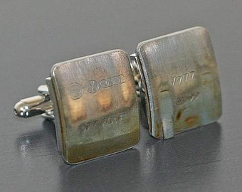 Audi Engine Part CUFFLINKS - with stampings of part #s and letters