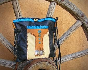 ROSALITA 2 pocket Deerskin Purse, leather Crossbody shoulder bag, Turquoise, Cell phone pocket, black leather purse, cowgirl, biker, rodeo