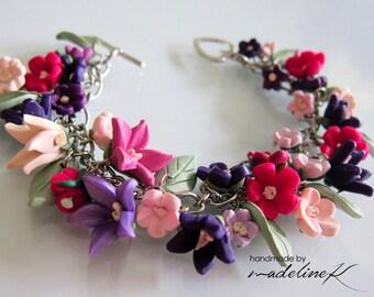 Summer Flower Garden Bracelet, Handmade Polymer Clay Flower Bracelet, Flower Bracelet, Wedding Flower Bracelet, Bridesmaid Flower Bracelet