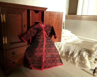 A Victorian Style Tea Gown (with coat hanger) one 12th scale