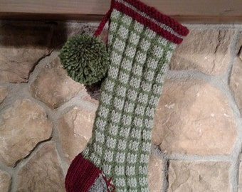 Old Fashioned Hand Knit Rustic Series Christmas Stocking Thyme and Sage Green Window Pane Pattern with Flower Detail
