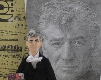 Leonard Bernstein Doll Miniature Composer Musical Writer Art for Musician