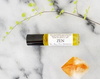 Zen Gemstone Aromatherapy for Relaxation - Aromatherapy Potion for Stress Relief - Reiki Infused Organic Roll-on Aromatherapy Oil Potion