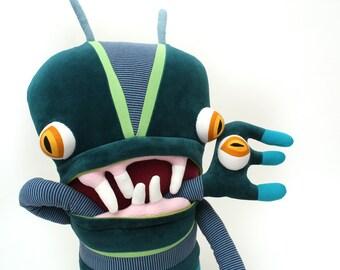 "Plush Big Monster ""Leonard"" Cotton Monster with Pocket Mouth"