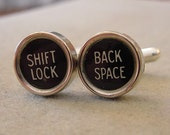 Vintage Typewriter key Cuff links - SHIFT LOCK  BACK Space- Men's Cuff Links Mens  jewelry gift