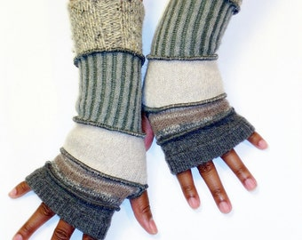 Fingerless Gloves, Upcycled Arm Warmers Grey and Beige (Medium Grey/Beige Pattern/Light Sand/Ribbed Grey/Sand,Grey Tweed)