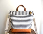 Vintage stripe ticking canvas crossbody bag, tote, zipper top - eco vintage fabrics