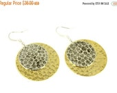 ON SALE Silver and Gold Earrings, Hammered  Earrings, Disc Earrings, Gold and Silver Earrings, Round Earrings