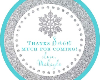 Winter Wonderland Silver Teal Glitter Snowflake Thank You PERSONALIZED Stickers, Tags, Labels, or Cupcake Toppers, various sizes