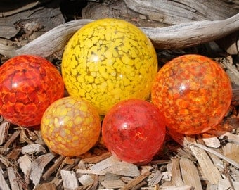 Set of 5 Colorful Hand Blown Glass Floats, Garden Balls, Gazing Glass Orbs In Warm Shades of Red, Yellow and Orange Outdoor Art Decoration