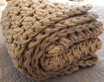 Custom Color Super Chunky Knit Crochet Year Round Basics Blanket Throw Afghan Tan