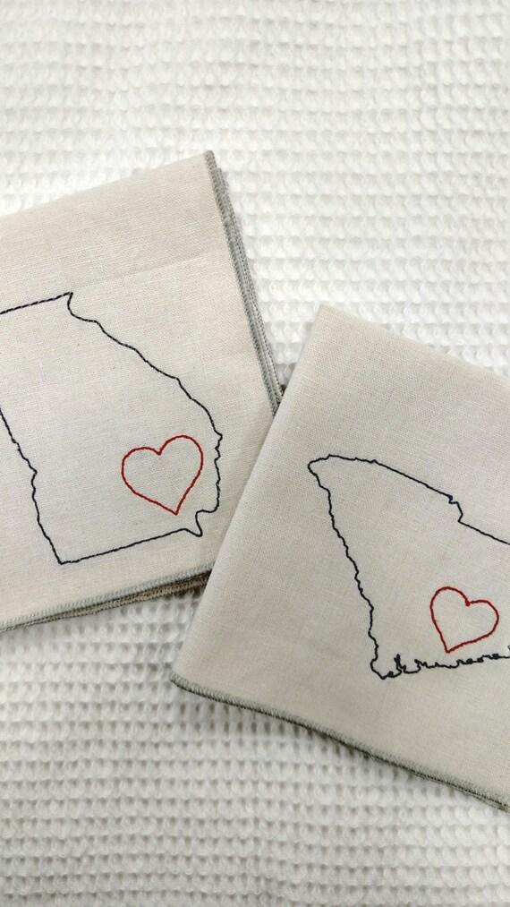 State Napkins with Heart- Custom Cloth Napkins