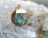 Labradorite Electroplated Gemstone Pendant, 14KT Gold Filled Necklace