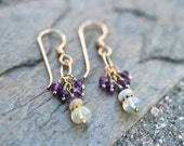 Ethiopian Opal and Purple Amethyst Gemstone, 14KT Gold Filled Handmade, Wire Wrapped Earrings, February Birthstone, Amethyst Jewelry