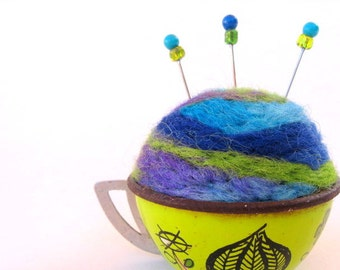 SHOP CLOSING SALE - Pin Cushion - Needle Felted - In Vintage Child's Tin Tea Cup - Green, Blue, Purple