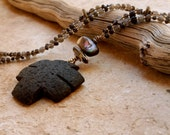 Found Stone Pueblo Dragonfly Cross + Summer Storm Celebration + Rustic Talisman Necklace + Smoky Quartz + Abalone Shell