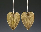 Botanical earrings, dangle earrings, brass earrings, boho earrings, flora earrings, statement earrings, natural heart earrings, trendy