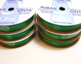 Green Ribbon, Double-faced Kelly green satin ribbon 1/8 inch wide x 60 yards