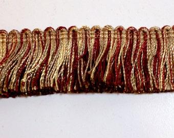 Brush Fringe, Burgundy and Gold Brush Fringe Sewing Trim 1 1/2 inches wide x 3 yards, Conso Brand