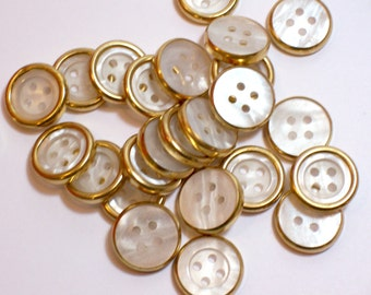 Gold and White Buttons, Goldtone Metal Edge Plastic Core Buttons 3/4 inch(19 mm) diameter x 25 pieces