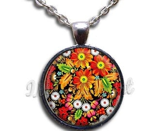SALE - Zhostovo Painting Flowers Glass Dome Pendant or with Chain Link Necklace NT127