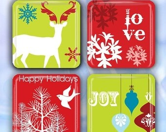 """60% OFF CLEARANCE Retro Christmas Reds and Greens - Set of 4 Glass Tile Magnets 1"""" square CSM105"""