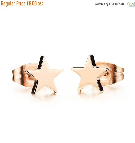 Rose Gold Plated Stainless Steel Star Stud Earrings