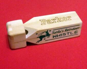 Train Whistle, Ring Bearer Gift, Stocking Stuffer, Custom Personalized Engraved Wooden Train Whistle, Toy, Green, Christmas Gift