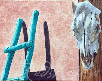 Ghost Ranch skull turquoise ladder ORIGINAL watercolor painting by Redstreake
