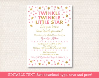 Twinkle Twinkle Little Star Baby Shower Invitation / Gold Glitter Star / Pink & Gold / Baby Girl / INSTANT DOWNLOAD Editable PDF